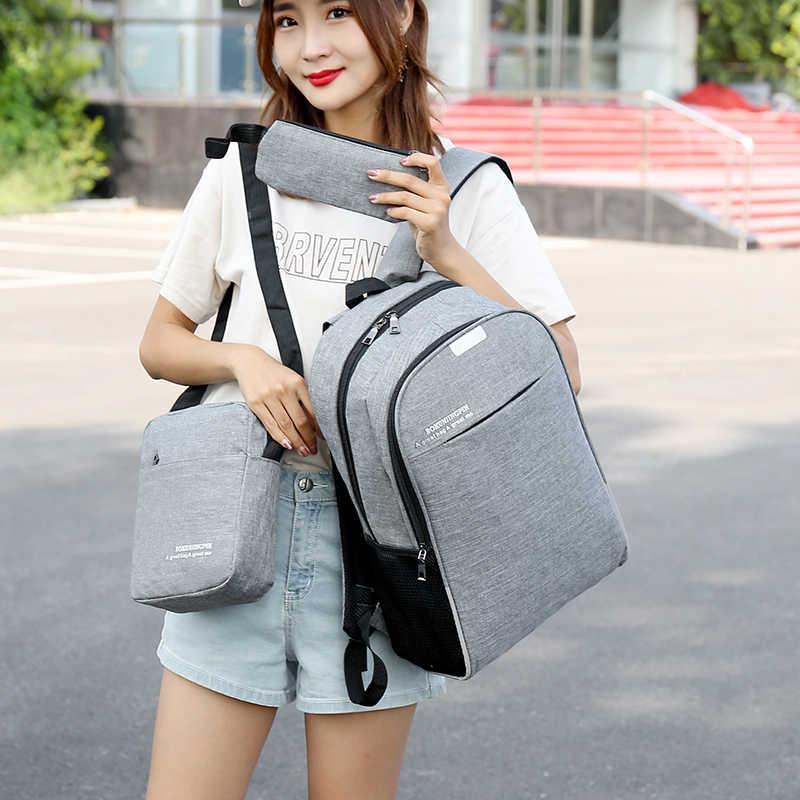 Комплекты из 3 предметов рюкзак для ноутбука Бизнес Для мужчин рюкзаки дорожная сумка через плечо, сумка для Повседневное Студенческая школьная сумка для подростков, для мальчиков и девочек
