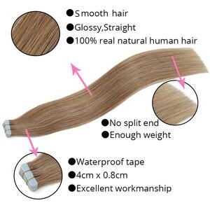 Image 3 - MRSHAIR 100g 40 adet bant insan saçı postiş makinesi Remy saç bant üzerinde PU cilt atkı dikişsiz insan saçı