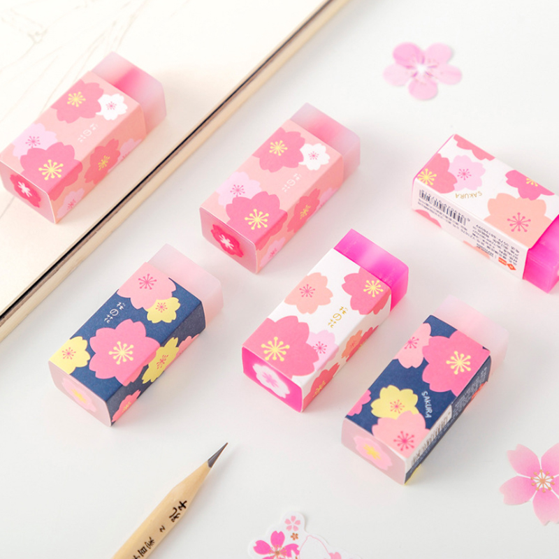 1pcs/lot Kawaii Cherry Blossom Sandwich Crystal Rubber Rabbit Eraser For Kids Stationery Student Gifts Office School Supplies