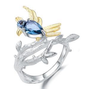 Женское кольцо с птицей gemb's BALLET, кольцо «ветка» из стерлингового серебра 925 пробы с натуральным синим топазом, 0,84 карат