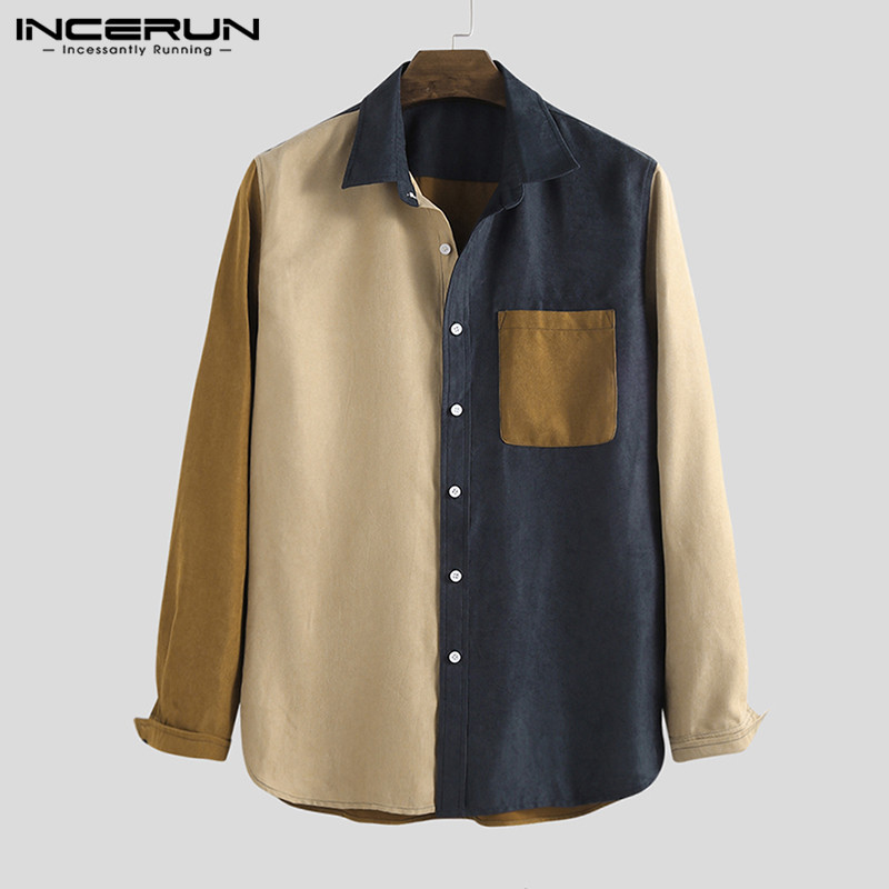 Fashion Corduroy Patchwork Men Shirt Pockets 2020 Long Sleeve Streetwear Chic Personality Casual Shirts Men Brand Camisas Hombre
