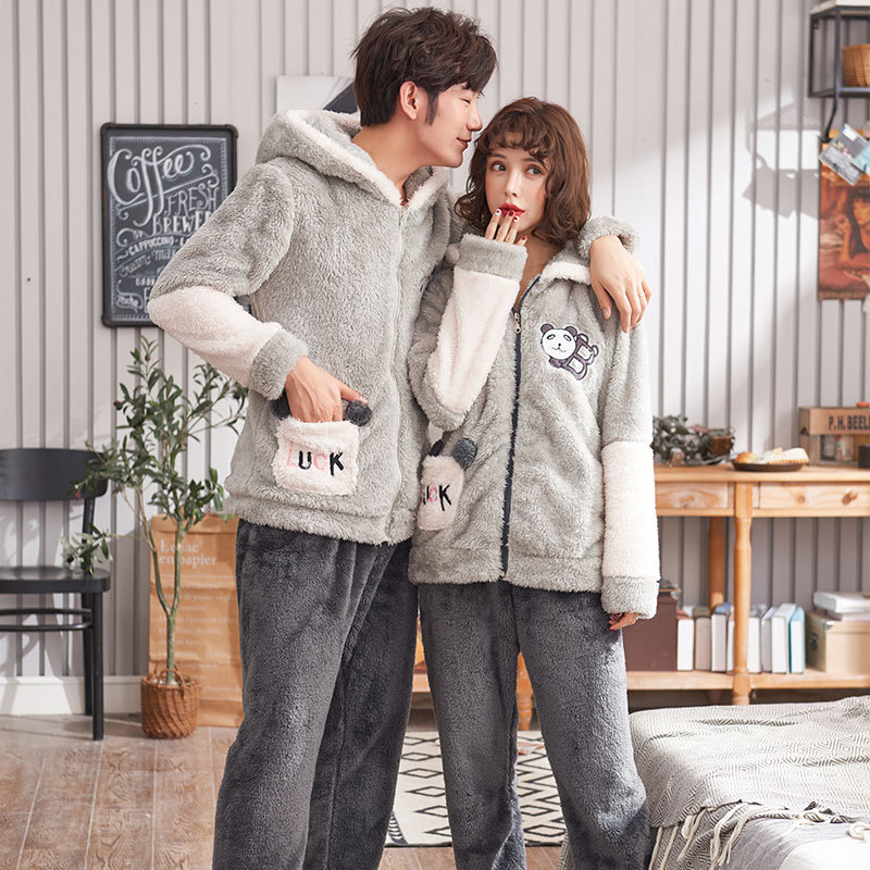 For Cartoon Home Wear For Men And Women Coral Couple Pajamas In Autumn And Winter Long-sleeved Flannel Suit