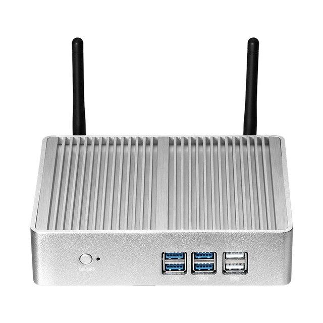 جهاز كمبيوتر صغير إنتل بنتيوم 4405U ويندوز 10 لينكس DDR3L RAM mSATA SSD HDMI VGA 6 * USB 300Mbps واي فاي جيجابت LAN بدون مروحة HTPC مكتب
