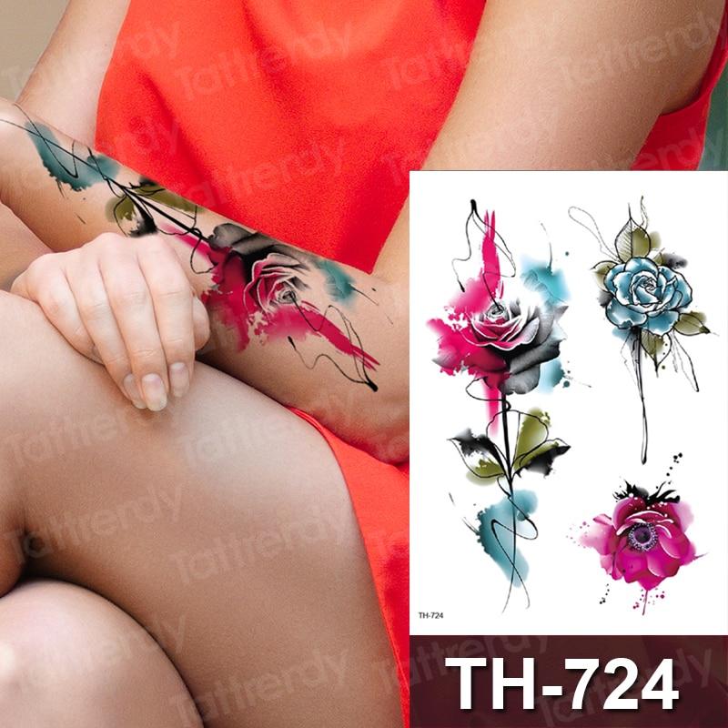Rose Temporary Tattoo Purple Flower Blue Peony Watercolor Waterproof Temporary Arm Sleeve Tattoo Fashion Body Art Tatoo Girl