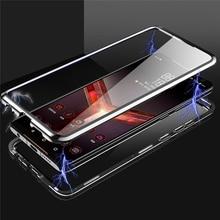 مزدوجة الجانبين إطار زجاجي قوي للهاتف المحمول لشركة آسوس ROG الهاتف الثاني 2 / ZS660KL شفافة المغناطيسي قذيفة الهاتف الأمامي والخلفي