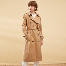 2019 New Autumn Winter Long Trench Coat Women Fashion Classic Double Breasted Belt High Quality Trench Casual Business Outerwear new arrival autumn trench coat women loose clothing outerwear high quality double breasted women hooded long coat