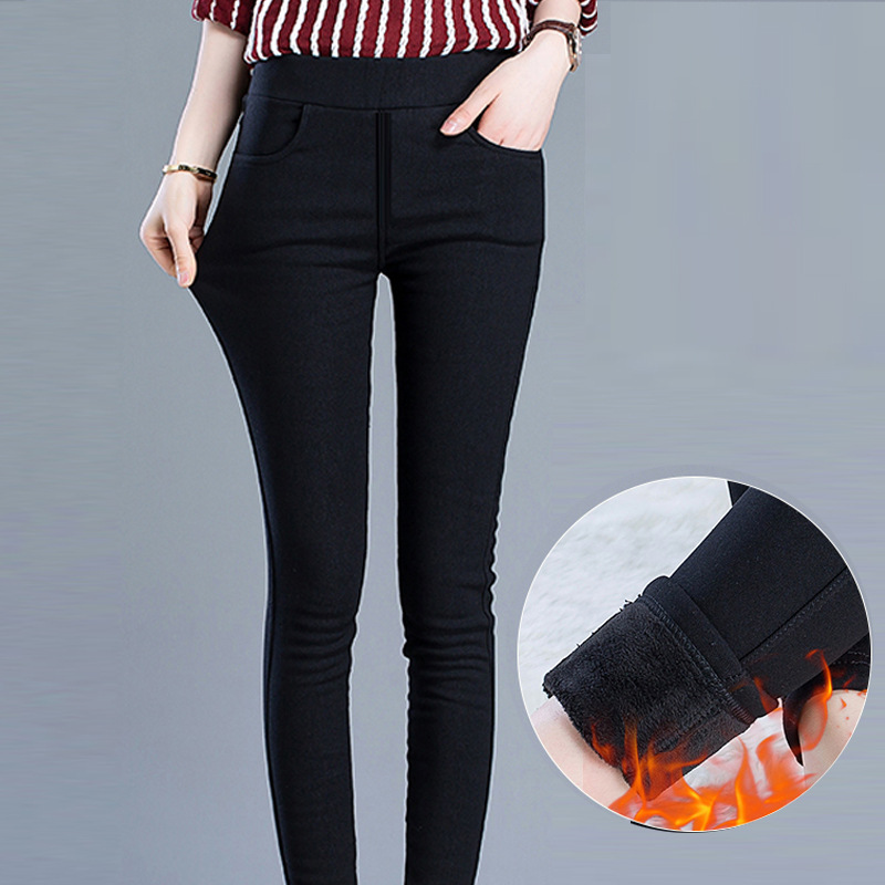 Winter Leggings Women Plus Size High Waist Stretch Thick Legging Solid Skinny Warm Velvet Winter Pencil Pants Lady Trousers