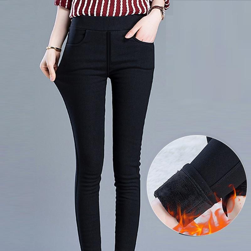Winter Leggings Women Plus Size High Waist Stretch Thick Legging Solid Skinny Warm Velvet winter Pencil Pants Lady Trousers