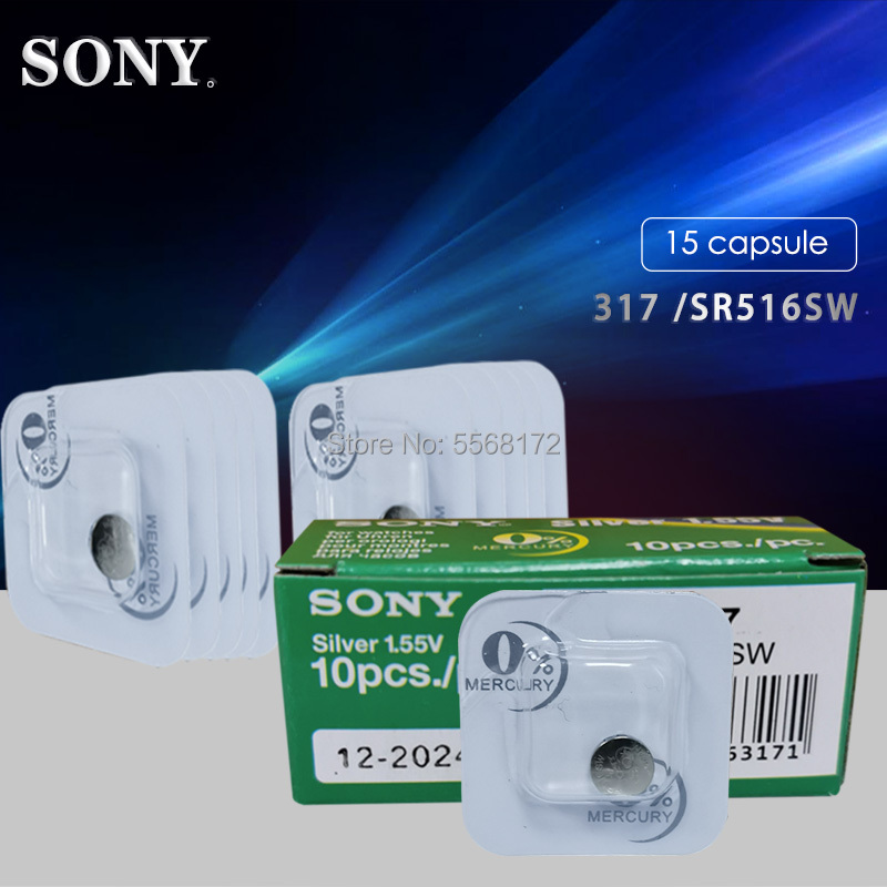 15PCS Sony Original 317 <font><b>SR516SW</b></font> D317 SR62 1.55V Single grain packing Watch battery button battery Silver oxide cell image