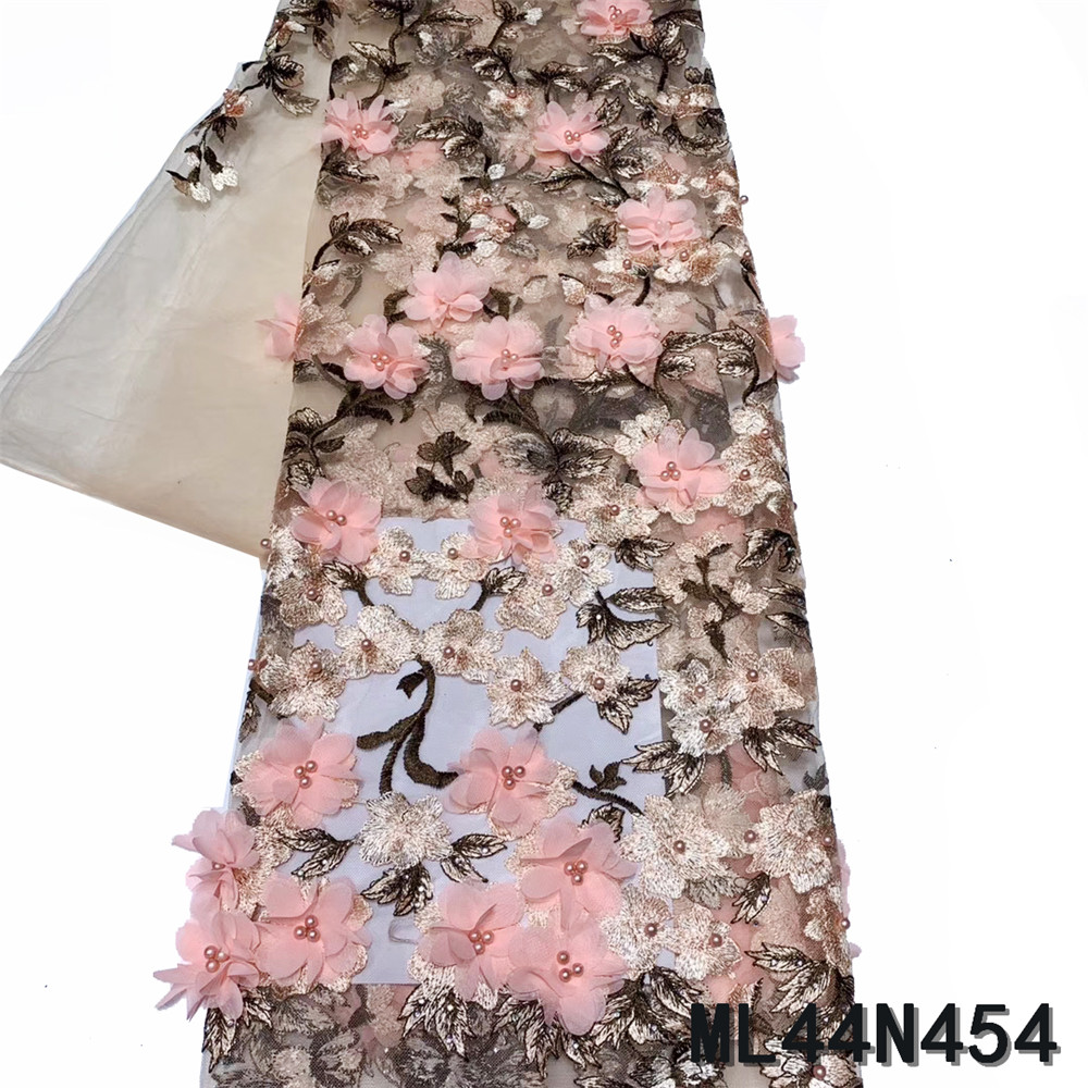 BEAUTIFICAL nigerian tissu lace for party 3d french laces fabric beads embroidery tissu lace flower french african ML44N454