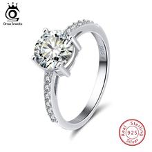 цены ORSA JEWELS 100% 925 Sterling Silver Rings For Women Wedding Band Jewelry With AAA Big Zircon Engagement Ring Party Gift OSR56