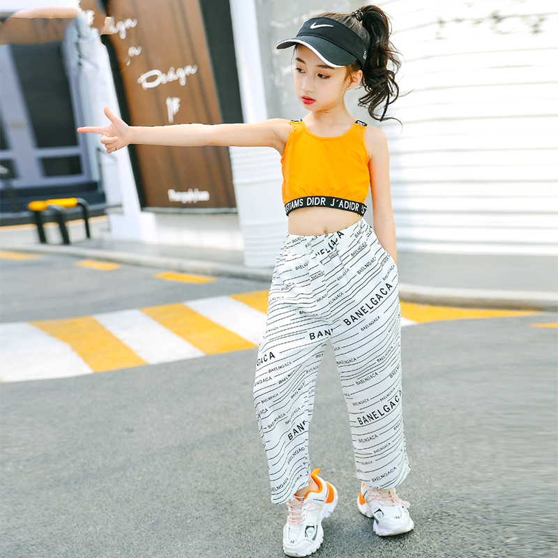 Kids Hip Hop Clothing Jazz Dance Costume For Girls Vest Jogger Pants Jazz Ballroom Dancing Streetwear Performance Wear DQS4015