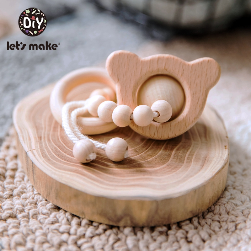 Let'S Make 1pc Beech Wooden Animal Bracelet Bpa Free Wooden Teething Ring Baby Toys 0-12 Months New Born Baby Toys Stroller Game