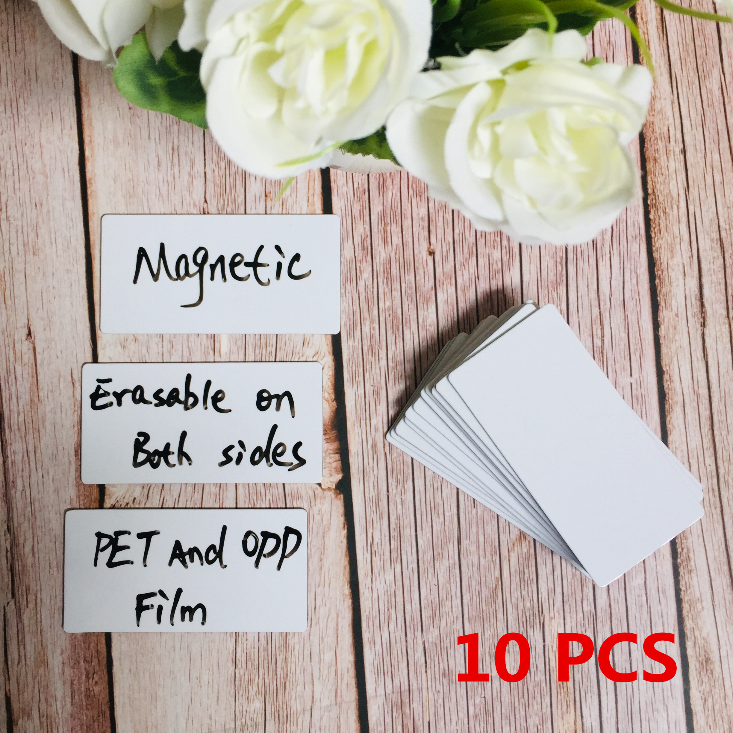 10 PCS Magnetic Double Sides Erasabled Labels 80*40mm Name Plate Writable Flexible Magnet Name Tags Sticky Labels and Stickers