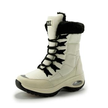 ZETMTC Quality Waterproof Winter Women Boots Keep Warm Mid-Calf Snow Boots Ladies Lace-up Comfortable Boots Chaussures Femme tanie i dobre opinie Mikrofibra Połowy łydki Platforma Stałe Kliny Buty śniegu Krótki pluszowe Elastycznej tkaniny Okrągły nosek Zima