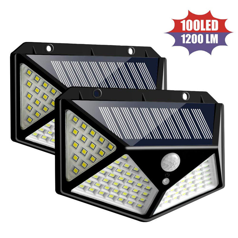 2pcs/lot 100/114 Beads LED Solar Light Outdoor Waterproof 4 side Solar Sunlight Lamp PIR Sensor Wall Light for Garden Decor Solar Lamps     - title=