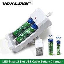 Chargeur de batterie USB VOXLINK 2 emplacements avec câble USB pour piles rechargeables AA/AAA chargeur pour caméra micro télécommandée