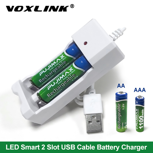 VOXLINK USB Battery Charger 2slots With USB cable For AA/AAA Rechargeable Batteries Charger For remote control microphone camera