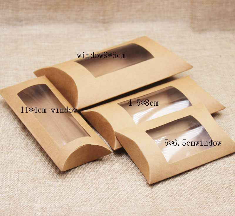 10pc 16*7*2.4cm brown/white/black cardboard pillow window box with clear pvc for proucts/gifts/favors/display packing show 12