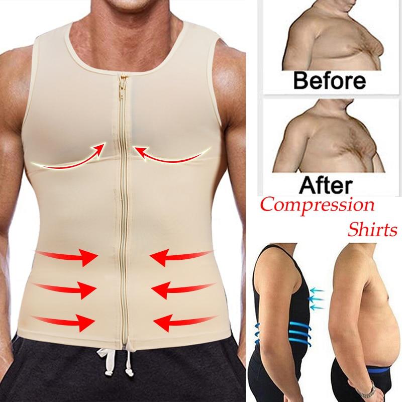 Chaleco de camisa para hombre, modelador corporal adelgazante con cremallera, camiseta sin mangas ajustada, entrenador de cintura vientre, Control de faja, corsé, ropa moldeadora delgada