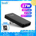 BUDI зарядное устройство для быстрой зарядки с usb-портом зарядного устройства USB с двумя выходными портами для iPhone 12 Samsung S10 Xiaomi зарядное устрой...