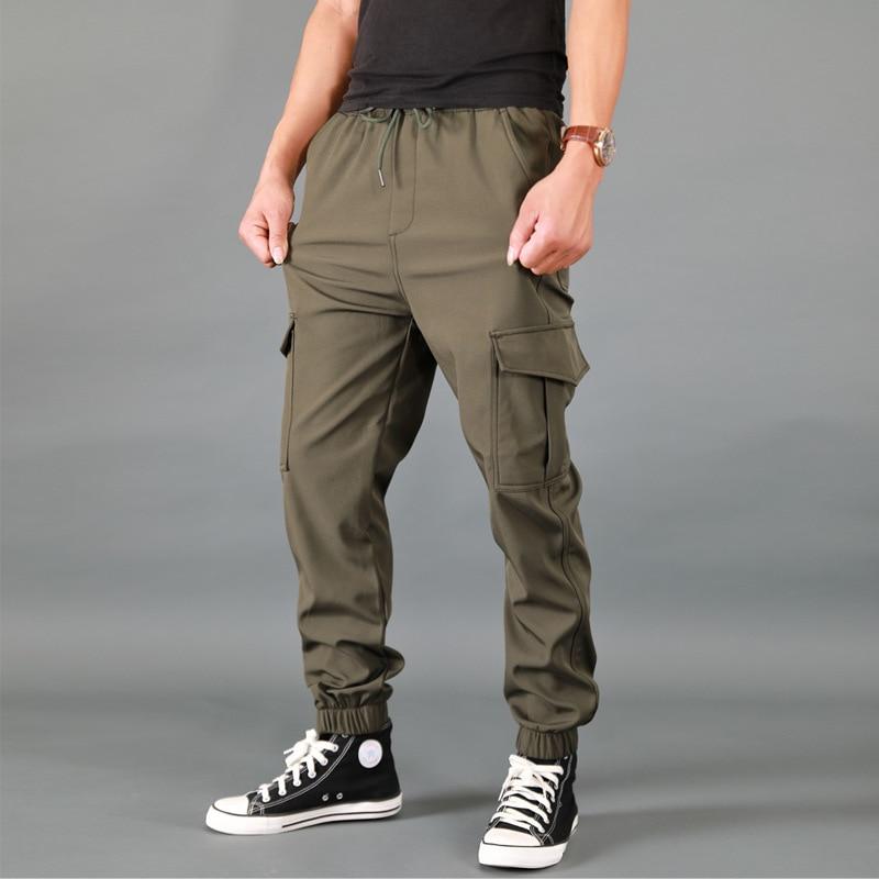ICPANS Quick Drying Thin Joggers Cargo Pants Men Military Hiking Waterproof Men's Trousers Black Multi-pocket Plus Size