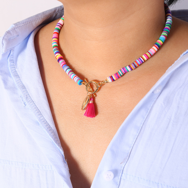 Alloy Shell Pendant Necklace for Women Colorful Tassel Soft Clay Choker Necklace Lovely Clavicle Chain Beach Party Gift Jewelry