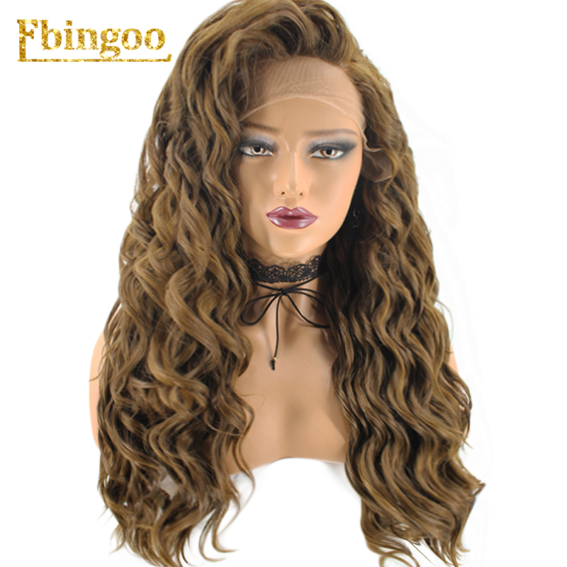 Ebingoo High Temperature Fiber Hair Wigs Long Deep Wave Dark Blonde Synthetic Lace Front Wig For Women Costume