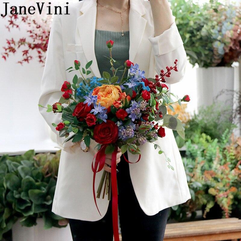 JaneVini Vintage Artificial Bride Flowers Red Rose Orange Peonias Bridal Bouquet Bride Holding Wedding Bouquets Charm Bukiet