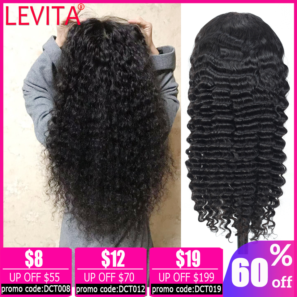 LEVITA Deep Wave Wig 4×4 Lace Closure Wig Brazilian Lace Wig Short Human Hair Lace Closure Wigs For Women Non-remy 150% Density