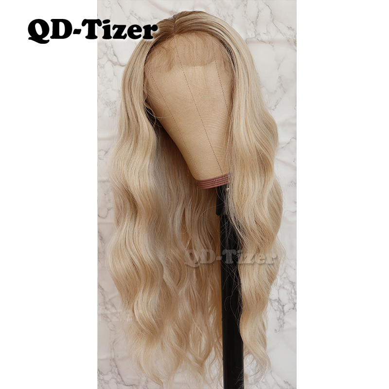 QD-Tizer 13*4 Water Wave Syntheitc Hair Ombre Color Glueless Synthetic Heat Resistant Lace Front Wigs With Baby Hair