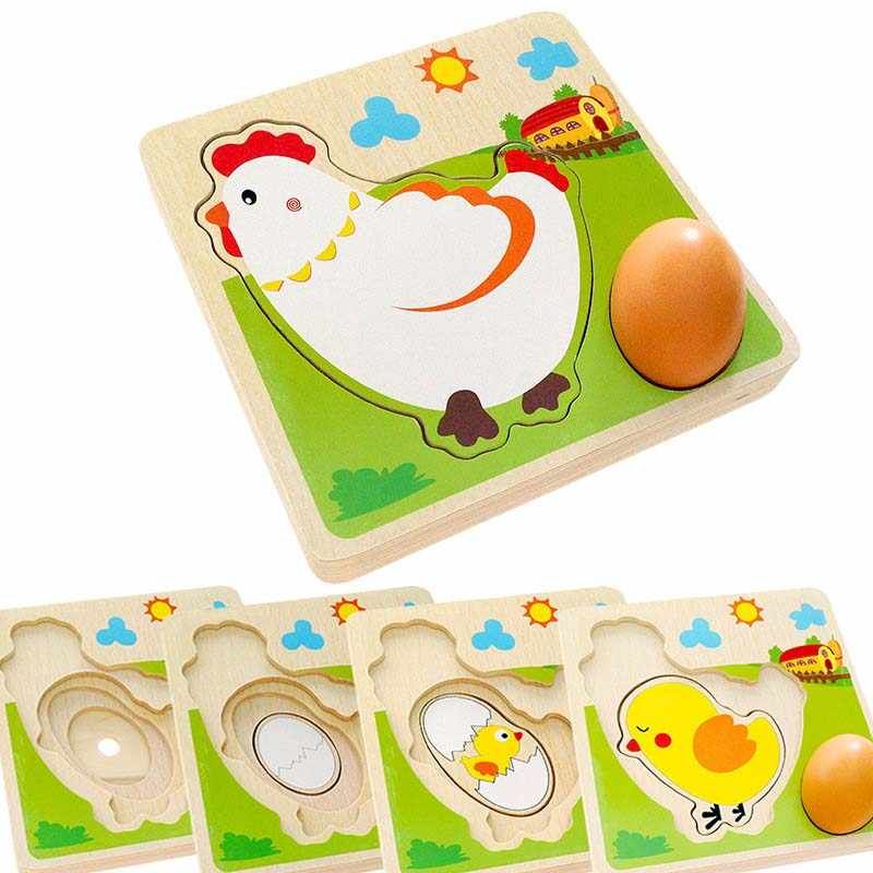 Dibujos Animados niños rompecabezas de madera capa Mulit gallina crecimiento Panel proceso temprano Emulational huevos Juguetes