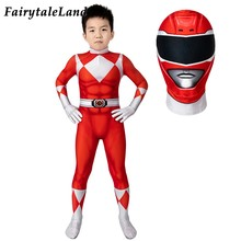Crianças vermelho ranger 3d impresso macacão capacete crianças halloween super-herói príncipe geki cosplay traje meninos zentai jason terno