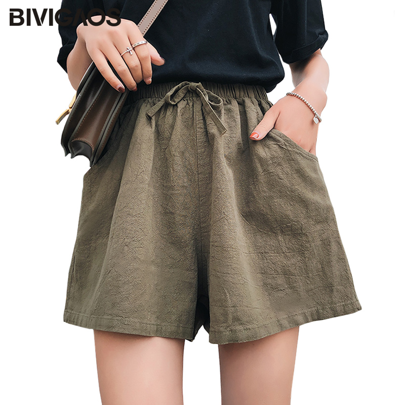 BIVIGAOS New High Waist Cotton Linen Wide Leg Shorts Korean Thin Sports Casual Loose Shorts Women Summer Shorts Culotte