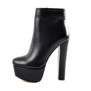 Women's Round Toe Black Matte Platform 16CM High Heel Side Zipper Ankel Boots Block Chunky Heels Large Size US5~US15 Boots