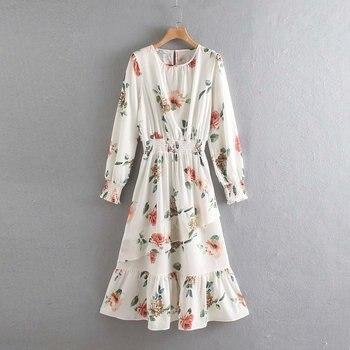 2020 Spring Summer New Grand Prix Flowers Print zaraing women Dress vadiming sheining female Dress vintage plus size XDN9236 2