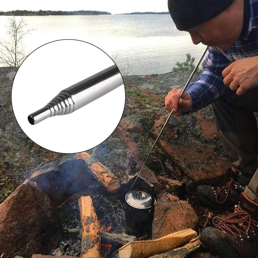 HobbyLane 8 Section Camping Portable Blower Tube Stainless Steel Retractable Fire Tool For Camping Hiking Cooking