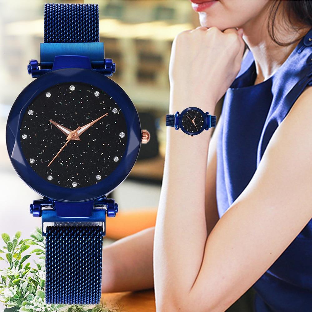 Fashion Starry Sky Ladies Watch Magnetic Strap Mesh Belt Blue Purple Women Quartz Wrist Watches Montre Femme