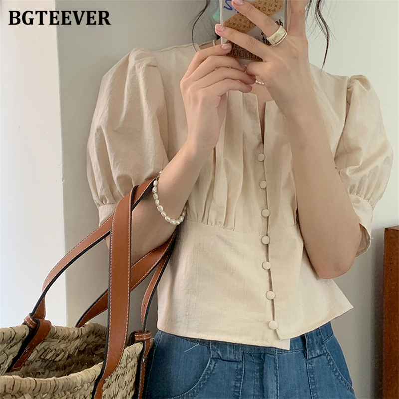 BGTEEVER Summer Tops Elegant O-neck Single-breasted Women Blouses Short Sleeve Casual Female Shirts Solid Blusas Mujeres 2020