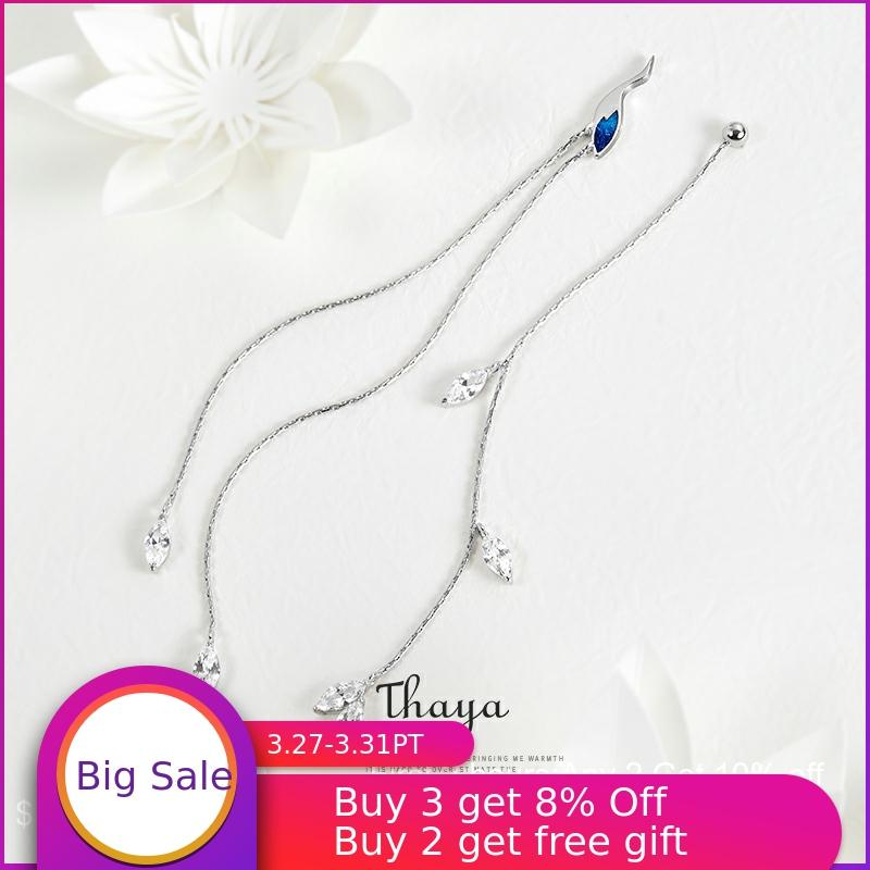Thaya Chinese Style Asymmetry Blue Crane Earring Line 925 Silver Earrings For Women Special Fine Jewelry