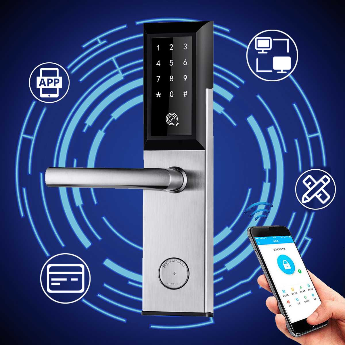 Serrure de porte électronique numérique contrôle Wifi entrée du clavier tactile serrures de porte intelligentes App Code d'appartement maison hôtel à distance