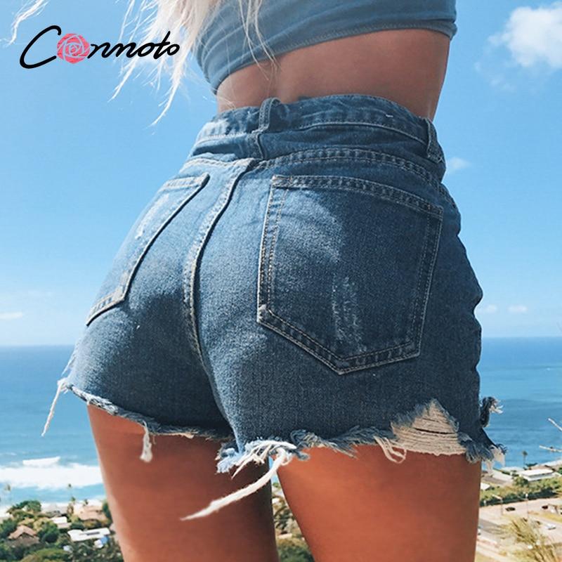 Conmoto Tassel Ladies Summer Jeans Women Shorts High Fashion Casual Short Button Pockets Sexy Streetwear Plus Size Shorts