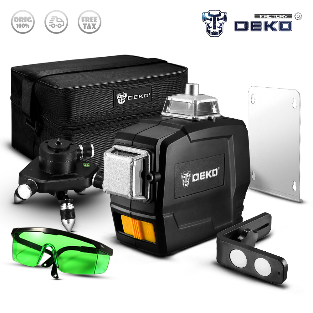 Factory Outlet DEKO DC Series Laser Level 12 Lines 3D Green Horizontal And Vertical Cross Lines With Auto Self Leveling|Laser Levels|   - AliExpress