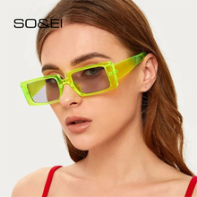 SO&EI Vintage Rectangle Sunglasses Women Small Frame Candy C