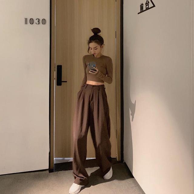 2021 Retro de Color sólido salvaje recto ancho pierna Pantalones mujer primavera nueva moda Coreana de cintura alta pantalones largos 3