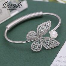 Dorado lindo AAA Zircon mariposa brazalete pulseras y brazaletes para mujeres de cobre nueva mujer abierto pulsera joyería de moda 2021