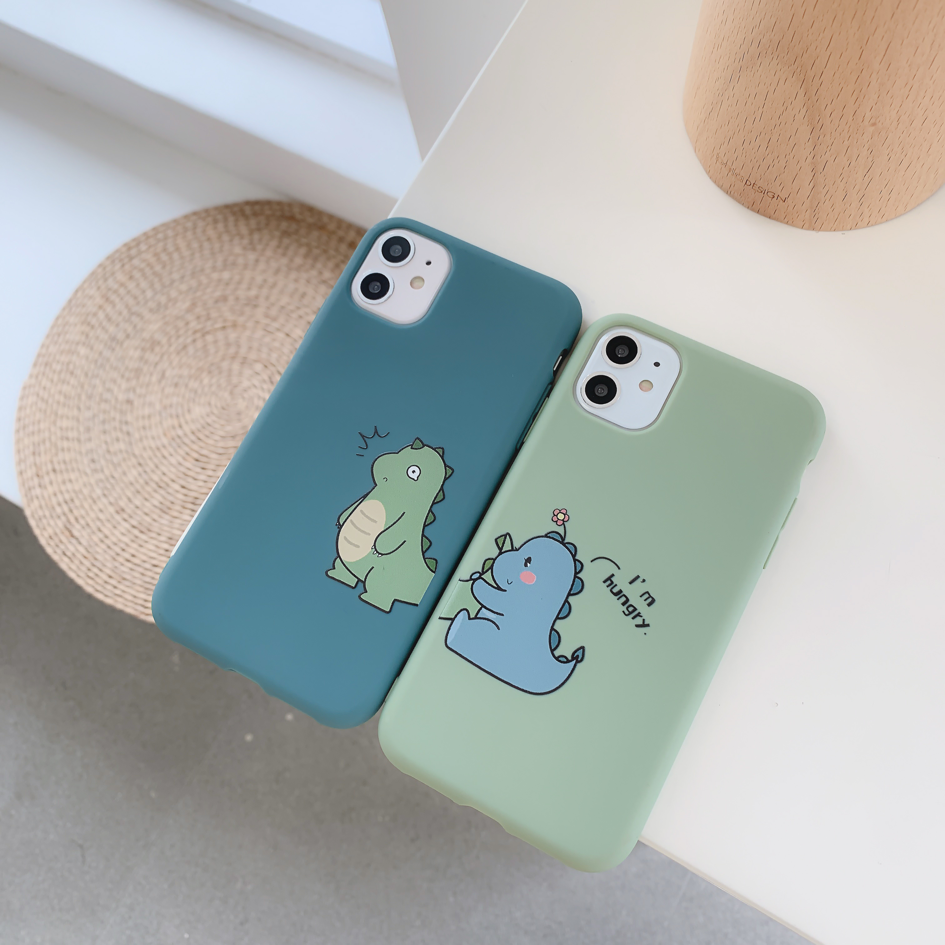 Cartoon Couple Dinosaur I'm Hungry Phone Case For iPhone 11 Pro XS MAX X XR 7 8 6 6S Plus Case Silicone Soft Candy Color Cover