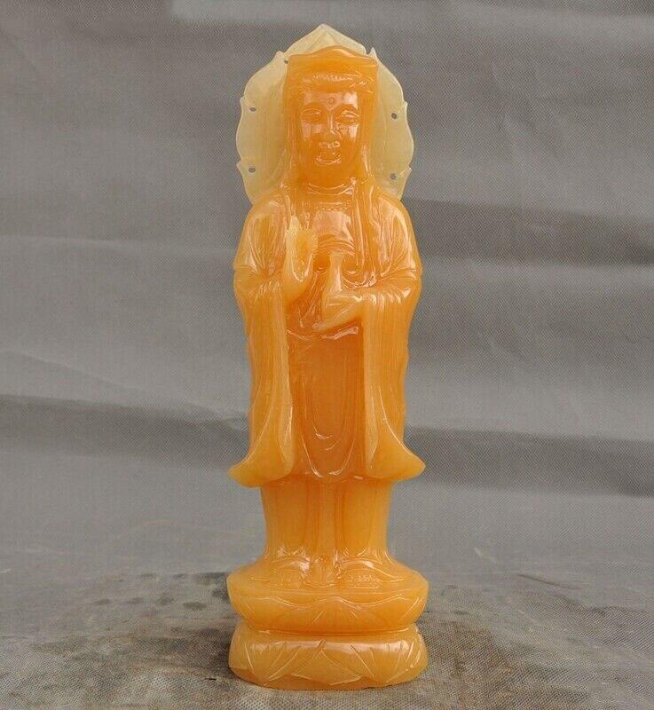 Wedding Decoration Natural Yellow Jade Buddhism Station Kwan-yin Guanyin Bodhisattva Buddha Statue