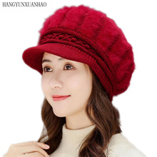HANGYUNXUANHAO Hat Fashion Beret For Women Winter Warm faux Rabbit Fur Berets With Ladies Hats Knitted Boina