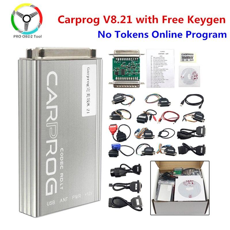 Carprog V8.21 с онлайн-версией keygen Car Prog V10.93 инструмент для тюнинга микросхем ECU со всеми 21 адаптером диагностический инструмент